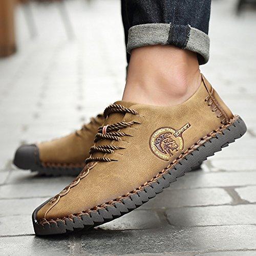Phefee Men Leather Shoes Lace-up Low Oxford Hombre Zapatos Con Cordones Holgazanes Bajos Para Hombres De Negocios Casual Zapato De Color Caqui