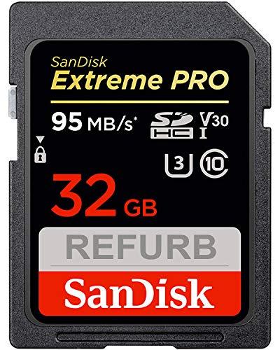 SanDisk Extreme Pro - Tarjeta de Memoria SDHC (32 GB, hasta 95 MB/s, Clase 10, U3, V30, Certificado y revisado)