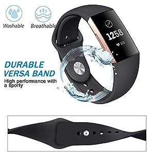 Fitbit Charge 3 Smart Uhr Armband für Herren Damen,Mode Uhr Sportuhr Breathable Silikon Armband Uhrenarmband Handschlaufe Band Bügel für Fitbit Charge 3 (Groß)