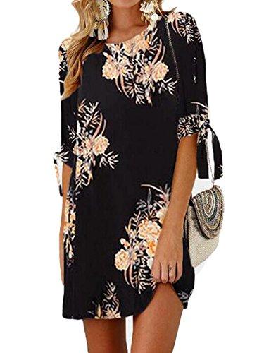 GARYOB Damen Sommer Kleid Büro Lässig Blumen Tunika Sommerkleider Minikleid mit 3/4 Ärmel(S-XXXXL) - Womens Schwarz Knie Stiefel