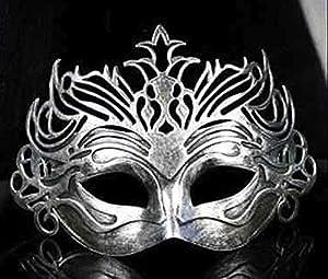 The Rubber Plantation TM 619219290234 - Disfraz de máscara veneciana de filigrana para hombre (talla única), color plateado