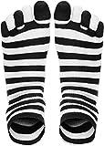 normani 1, 2 oder 3 Paar Baumwoll Zehensocken in verschiedenen Farben - Bunt oder Schwarz weiß Uni - Damen und Herren - Unisex Farbe Weiß-Schwarz Geringelt