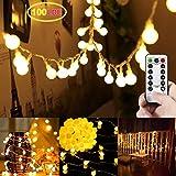 LED Lichterkette,LED Globe Lichterkette, 100er LED Globe Lichterkette, Innen/Außenbeleuchtung, Deko Lichterkette Weihnachtsbeleuchtung für Weihnachten, Hochzeit,Party