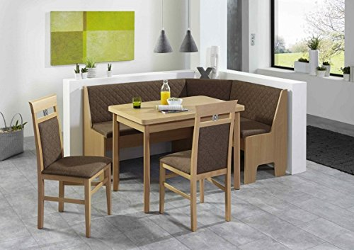 Eckbankgruppe 'LOKU' Essgruppe 165 x 125 x 86 Vierfußtisch 2 Stühle modern Eckbank Küchentisch 4-teilig Küche Polsterung camelbraun Buche natur Dekor