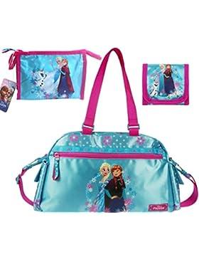 Frozen Die Eiskönigin 3 tlg. Set Geldbeutel + Kulturtasche + Sporttasche Kindergarten Tasche