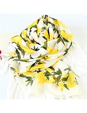 FLYRCX Las señoras de impresión larga Chiffon pañuelo de seda para el verano sunscreen mantón multifunción 180cmx90cm,UN
