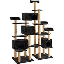 TecTake Árbol rascador para gatos 214 cm de altura | 4 plataformas de observación | 4 cómodas madrigueras | negro