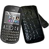 Suncase Original Echt Ledertasche für Nokia Asha 201 (Hülle mit Rückzugsfunktion) in croco-schwarz