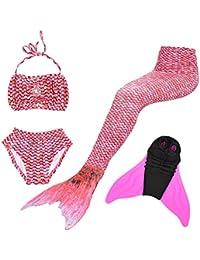 SUPERSTAR 4PCS Girls Mermaid Tail Swimsuit Princess Bikini Swimwear Set