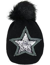 Mevina Strickmütze Damen Bommel Mütze mit Pailletten Stern und Wolle Kunstfellbommel Wintermütze Mütze Herbst Winter