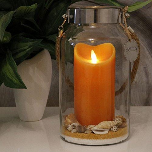 Dekovita Idea para Regalo 30cm Decoglass LED Vela de Cera naranja Real con llama en movimiento y Deco-Sand Pascua Cumpleaños Día de la Madre