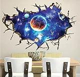 Stickerkoenig 3D Wandtattoo Wandaufkleber Wanddurchbruch Loch Wand Sticker DIY Kinderzimmer Weltall Universum Sterne Planeten #8502