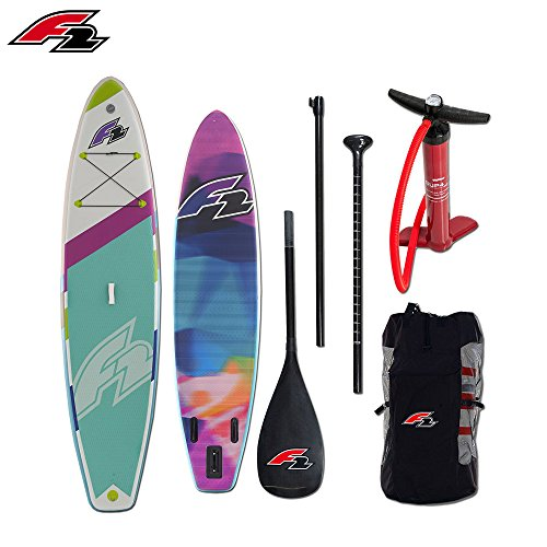 F2 boardsports F2 Freerider Light SUP Stand Up Paddle Board – iSUP Paddling mit Carbon Paddel, Pumpe und Reparatur Kit Zubehör – 10,5 ' (Paddel Gfk)