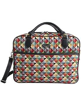 Borsa briefcase donna di Signare in tessuto stile arazzo alla moda, 15,6 pollici Triangolo multicolore