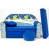Plegable Sofá cama de espuma para niños con almohada y pufs incluidos