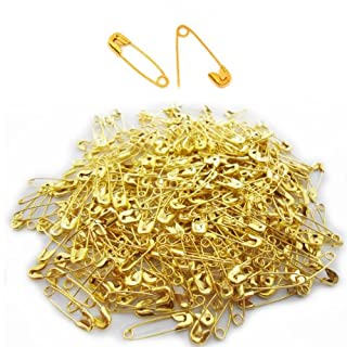 200 Small Safety Pins Colour Mini Pins 18mm Brass Metal Sewing Art Craft Size Tiny Tag Dress Pin (Gold)