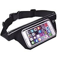 King of Flash Sweatproof [Black] Sports Running, Jogging, Marathon Fanny Pack Bum Waist Bag Phone Carrier Belt with Transparent Touch Screen Window for Mobile Smartphones Upto 5.5""