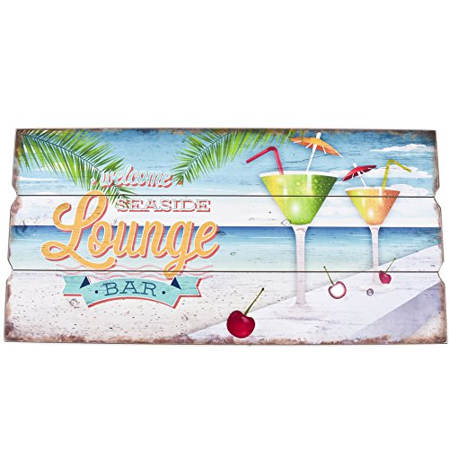 Dadeldo Living & Lifestyle Wandbild Cocktail Lounge Bar Design MDF 30x60cm bunt Holzschild Deko Trend
