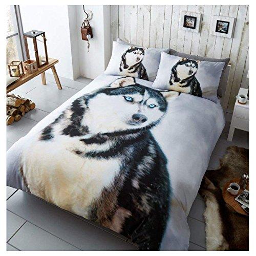 Gaveno Cavailia 3D Wildlife Husky Bettwäsche-Set mit Bettbezug und Kissenbezug, Polyester-, Multi, Single (Baumwolle König Bettwäsche-sets)