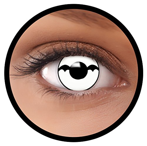 taktlinsen weiß Bat + Linsenbehälter, weich, ohne Stärke als 2er Pack - angenehm zu tragen und perfekt zu Halloween, Karneval, Fasching oder Fasnacht ()