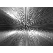 1Wall moderno geométrico plata Blast abstracto Mural, color blanco y negro, 3,15x 2,32m