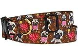 Hundehalsband Mops Halsband Halsung Band Nylon mit Mopsmotiv braun 38 - 53 cm x 2,5 cm