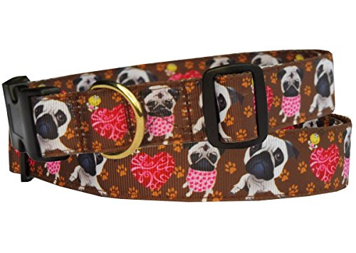 Halsband Leder Jacke (Hundehalsband Mops Halsband Halsung Band Nylon mit Mopsmotiv braun 38 - 53 cm x 2,5 cm)
