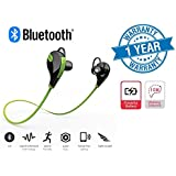 Twogood QY7-GREEN Jogger Bluetooth 4.1 Lightweight Wireless Sports Headphones With Built In Mic | Best For Running, Gym Compatible With All Android Or Apple IPhone Devices, Laptops, PC's And Tablets (1 Year Warranty)
