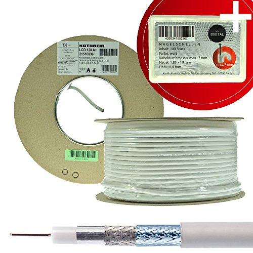 Kathrein LCD 120 A+ 130 dB Koaxialkabel 100m mit NA-Digital Nagelschelle antennenkabel  3D FullHD 1080p HDTV Isolation Sat-tv