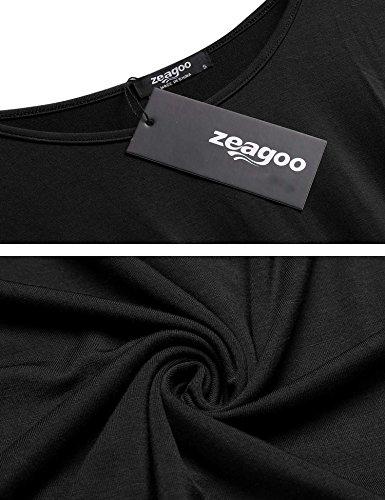 Zeagoo Damen Elegantes Wasserfall Kurzarmshirt mit Rundhals Stretch Ballerina Oberteile Sommer T Shirt Schwarz