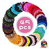45 pièces de cheveux colorées en velours.