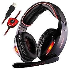 Sades SA902 Dolby 7.1 Surround Sound USB Audio Over Ear Gaming Kopfhörer Headset mit Mikrofon Lautstärkenkontrolle LED Effekt für PC/MAC/Laptop/Tablet/Computer(Rot)