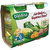 Bledina pots salés jardinière de légumes boeuf 6 mois 2x 200g - ( Prix Unitaire ) - Envoi Rapide Et Soignée