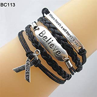 ALCYONEUS Infinity Hope Faith Breast Cancer Awareness Sign Charm Multi Layers Bracelet size Bc113