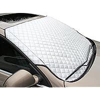 FuriAuto Copriauto Impermeabile Adattato Per Qualsiasi Auto Spazzole tergicristallo Anteriore copriparabrezza grigio con laccetti per il fissaggio anti neve o sole