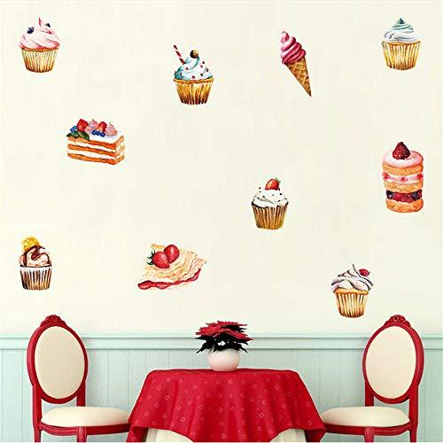 Lbonb Cupcake Ice Cream Cartoon Wandkunst Farbe Wandaufkleber Für Küche Wohnzimmer Vinyl Aufkleber Selbstklebende Tapete Wohnkultur