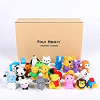 Four Heart 30x Animal Collectible Set of Random Adorable Animals Erasers Best Puzzle Toys for Kids Fun and Games with gift box