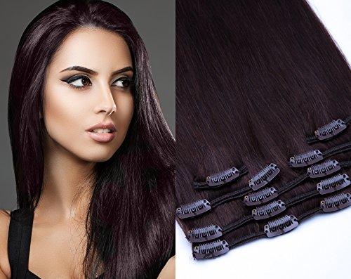 (Remy Clip In Extensions Set 100% Echthaar 7 Teilig 70 Gramm Hochwertige Haarverlängerung und Haarverdichtung in 40cm Länge Clip-In Hair Extension Nr. 2 Dunkelbraun)