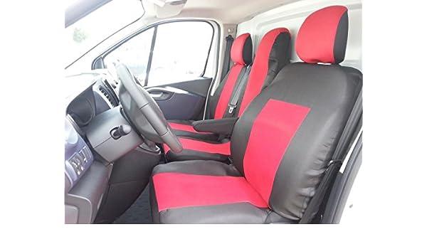 2+1 Sitzbezüge Rot für Opel Vivaro 2014 Passgenau Schonbezüge Tisch Sitzbezug