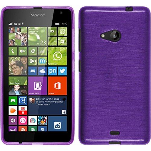 PhoneNatic Case für Microsoft Lumia 535 Hülle Silikon lila, Brushed + 2 Schutzfolien