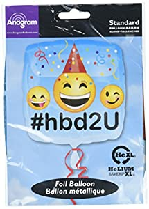 amscan 3361701 Smiley Happy Birthday - Globos de Papel de Aluminio