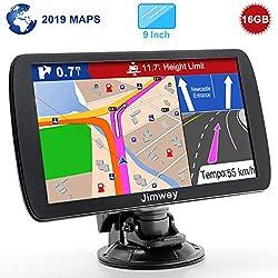 Jimwey GPS Navi Navigation für Auto LKW PKW 9 Zoll 16GB Lebenslang Kostenloses Kartenupdate Navigationsgerät mit POI Blitzerwarnung Sprachführung Fahrspurassistent 2019 Europa UK 52 Karten