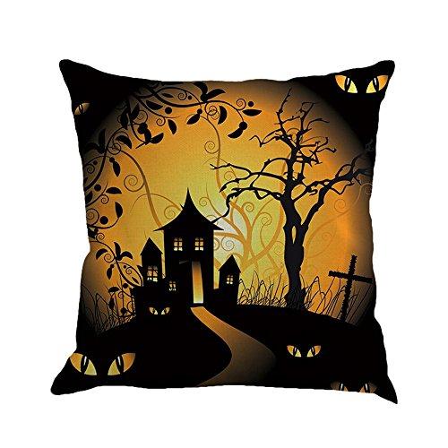 lloween Startseite Sofa Deko Kissenbezug Hexe Katzen Kürbis Halloween Kissenbezug (D) (Halloween 1-kürbis)