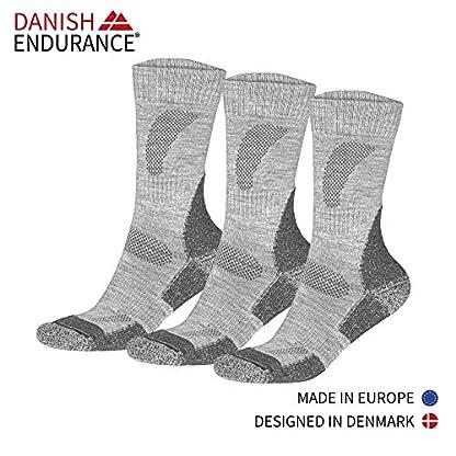 DANISH ENDURANCE Outdoor Walking Socks in Merino Wool for Men Women & Children, Hiking & Trekking, Work, 3 Pack Calf Socks in Brown, Red, Green, Blue, Grey, Black 3