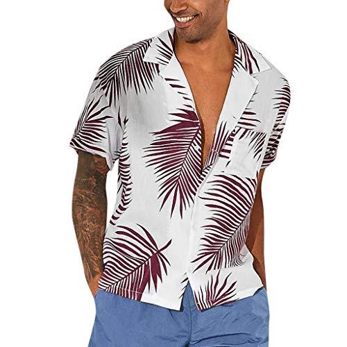 r Knopf Hawaii Print Strandtasche Kurzarm Quick Dry Top Blusen(XXX-Large,Rot) ()