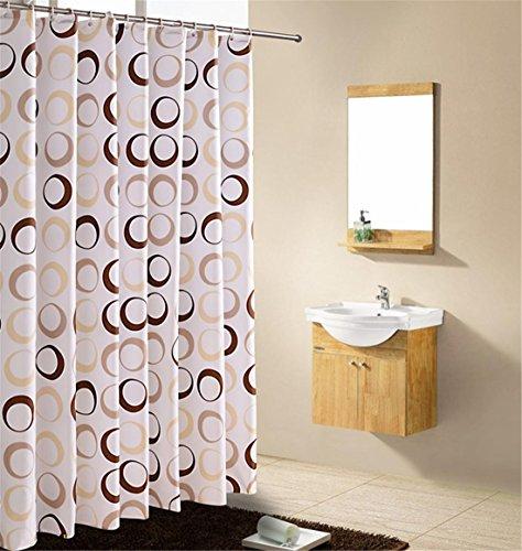 Poliéster Cortina de la ducha Beige, marrón Donuts Patrón No Transparente Textil Lavable Impermeable Baño Baño Con Suficiente Anillos Manos , 180*180cm