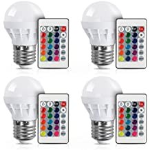 (4 PACK) LED RGBW Lampe XJLED Magic Dimmbare 3W LED RGB Glühbirne E27