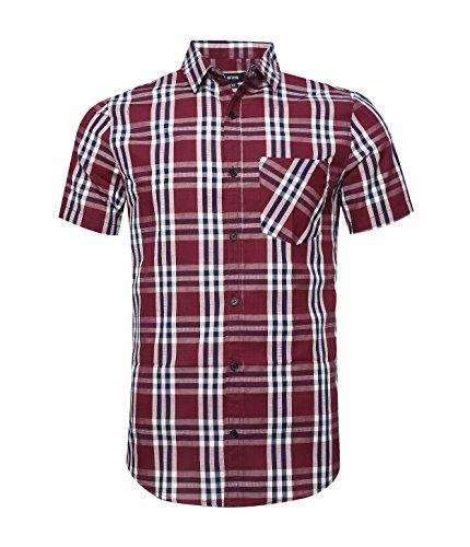 Nutexrol camicie da uomo camicie camicie a quadri, casual, comode e moderne per l'estate, maniche corte, fucsia (maglia sottile), xl
