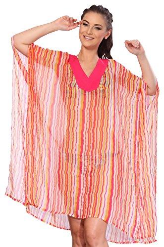 La Leela super-puro chiffon leggero kimono onde verical 5 oz costumi da bagno costume da bagno short 5 in 1 sera incantevole vestito spiaggia coprire vacanze caftano casuale top rosa
