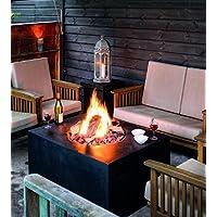Mania Cocoon Fuego ambience-outdoors Gas Chimenea cuadrado grande, negro Longitud 76 cm